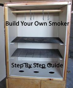 Need free smokehouse plans? Use them to build your own wooden homemade outdoor smokehouse with a concrete firebox. Outdoor Smoker, Outdoor Oven, Outdoor Cooking, Homemade Smoker Plans, Smoker Recipes, Bbq Pitmasters, Smoke House Plans, Fish Smoker, Drum Smoker