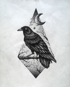 Dotwork raven on nature view rhombus background tattoo design