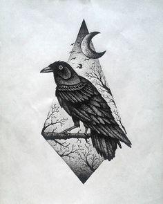 Dotwork raven on nature view rhombus background tattoo design