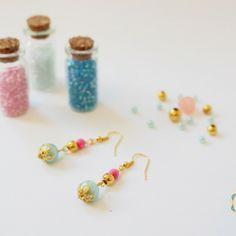 Pendientes en agua marina y rosa. Primavera 2014. Earrings. www.bedoodle.es