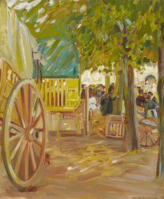 Helen McNicoll, Market Cart in Brittany, c. 1910, oil on canvas, 61 x 51.3 cm, The Robert McLaughlin Gallery, Oshawa. #ArtCanInstitute #CanadianArt