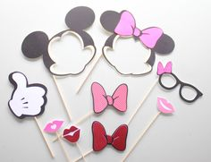 9pc * Mickey and Minnie Photo Booth Props/Photobooth Props/Mickey Mouse/Minnie Mouse/Disney Props by ThePartyGirlStudio on Etsy https://www.etsy.com/listing/223987864/9pc-mickey-and-minnie-photo-booth