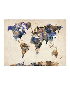 Take a look at this Blue & Gold Watercolor Map Gallery-Wrapped Canvas by Michael Tompsett on #zulily today!