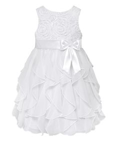 Look at this White Rosette Ruffle Tier Dress - Toddler & Girls on #zulily today!