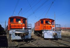 Iowa Traction Railway steeple cabs Nos. 60 and 51 switch the yard at Emery on the west side of Mason City, Iowa, on April 15, 2008. No. 60 was built in 1917, while sister No. 51 is four years younger—but both are almost 100 years old!