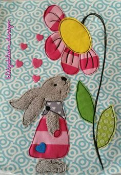 Embroidery file Embroidery Motif Doodle Bunny-Flower Love - Stickdatei Stickmotiv Doodle Hase Blumenliebe - Diy and crafts interests Freehand Machine Embroidery, Embroidery Motifs, Embroidery Files, Machine Embroidery Designs, Etsy Embroidery, Creative Embroidery, Applique Patterns, Applique Designs, Quilt Patterns