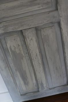 using paris grey, old white and graphite, plus a secret (!) ingredient, we were able to (almost) replicate the look of years of weather upon layers of paint.  a layer of wax on top of the paint gives it some protection, but we left it barely-buffed and matte for a more authentic weathered look.