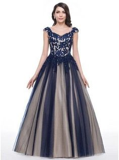 Ball Gown Sweetheart Floor Length Tulle Prom Dress With Beading Appliques Lace Sequins 018059413 g59413