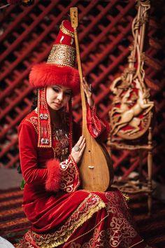 Kazakh girl with dombyra