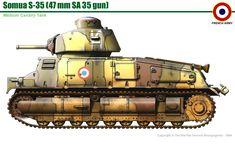 French Somua S 35 cavalry tank (introduction - 1936; armor - 47 mm; gun - 47 mm SA 35; speed - 41 km/h; produced - 440)