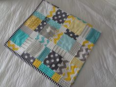 Cot Quilt or Playmat or Both - Grey, Yellow and Aqua Mix - Bright and fun - by LittleBoubba on madeit