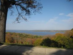 Early fall foliage and the Illinois River from Grandview Drive in Peoria Heights, Illinois