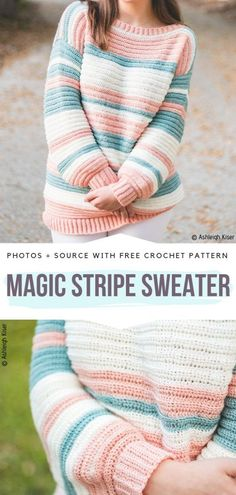Magic Stripe Sweater Free Crochet Pattern Structural stripes are created with the use of back/front post stitches. Choose self-striping or ombre yarn for additional effects! Pull Crochet, Crochet Baby, Knit Crochet, Tunisian Crochet, Crochet Tops, Crochet Shrugs, Easy Knitting Projects, Crochet Projects, Articles Pour Enfants