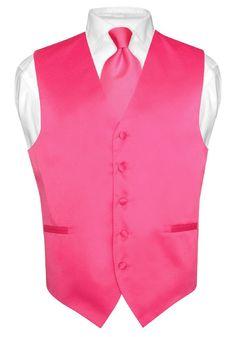 Men's HOT PINK FUCHSIA Tie Dress Vest and NeckTie Set for Suit or Tuxedo