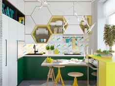 """Obsesji geometrycznej ciąg dalszy - tym razem w kuchni. Limonkowe detale dodają smaczku, ale całość należy do kategorii """"normalni ludzie mogą tu żyć""""."""