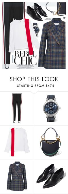 """""""Elegantly sporty style"""" by cilita-d ❤ liked on Polyvore featuring Gucci, IWC Schaffhausen, STELLA McCARTNEY, Sacai, Gabriela Hearst, Acne Studios, Chanel, blazer, loafers and twotone"""