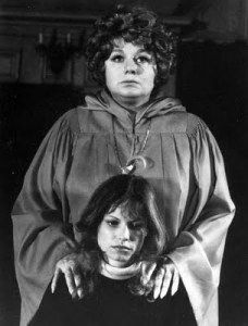 """A scene from that 70s telemovie """"The Initiation of Sarah""""! Pictured: co-ed Kay Lenz and house mother Shelley Winters. Also starring Morgan Fairchild as the mother. Written by Tom Holland (""""Fright Night"""")."""