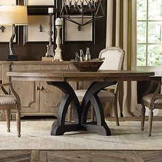 Hooker Furniture Corsica Round Dining Table in Two Tone Finish