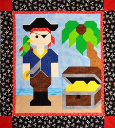 Pirate quilt pattern from Counted Quilts www.countedquilts.com  Instructions for 3 sizes: 24x28, 36x42, 48x56. Add a fun pirate border to bring the middle size up to a toddler bed, or border the large size to fit a twin.