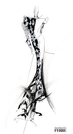 Dress Sketch - stylish monochromatic fashion illustration // Gianfranco Ferré