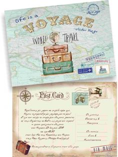 Post card προσκλητήριο ταξίδι