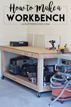 How to Build a Workbench | Build a simple rolling workbench with these easy to follow DIY plans. This is the perfect workbench to add more storage in your garage to hold your tools and get you organized!                                                                                                                                                                                 More Rolling Workbench, Diy Workbench, Building A Workbench, Workbench Designs, Woodworking Jigs, Wood Projects For Beginners, Diy Wood Projects, Workshop Organization, Garage Organization