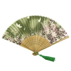 Wrapables Silk Handheld Folding Fan with Tassel and Protective Sleeve, Floating Butterflies Green | Decorative Folding Fans | Olivia Decor - decor for your home and office.