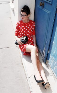 Love this red polka dot dress