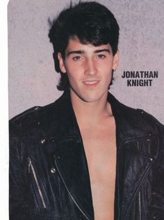 JONATHAN KNIGHT pinup – Shirtless in leather jacket!