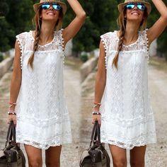 Neu Damen Weiß Sommer Minikleid Strandkleid Cocktailkleid Partykleid Größe 34-48 in Kleidung & Accessoires, Damenmode, Kleider | eBay