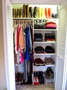 Cool Closet - Organized and color coded small closet - Michelle Orsi - Charleston Crafted