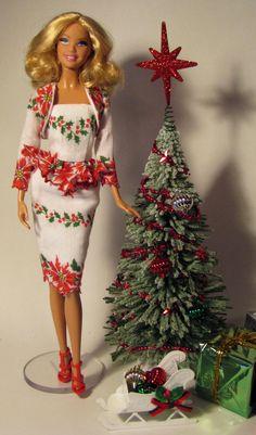 OOAK Barbie dress made from vintage Christmas hankie by Sylvia Bittner