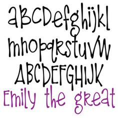 Silhouette Design Store - View Design zp emily the great Doodle Fonts, Doodle Lettering, Creative Lettering, Handwriting Alphabet, Hand Lettering Alphabet, Fun Fonts Alphabet, Bubble Letter Fonts, Calligraphy Alphabet, Calligraphy Fonts
