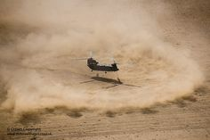 A Royal Air Force Chinook helicopter throws up a ring of sand and dust as it comes in to land in the North African desert in preparation for deployment to Afghanistan.