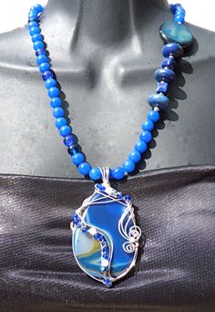Bottomless Lake Blue Long Pendant Necklace statement by FunNFiber