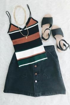 vintage color block tank top, crop top, spaghetti strap, orange, white, green, black, denim mini skirt, button up // The Copper Closet, fashion, boutique, clothing, affordable, style, woman's fashion, women fashion, online shopping, shopping, clothes, girly, boho, comfortable, cheap, trendy, outfit, outfit inspo, outfit inspiration, ideas, Jacksonville, Gainesville, Tallahassee Florida, photo shoot, look book
