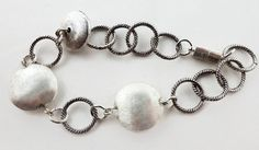 Silver bracelet chunky silver tone beaded by HanoverMerryMakers, £8.00
