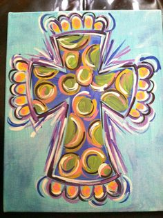 Colored Cross Painted Canvas by PetalsAndBrushes on Etsy Diy Canvas, Canvas Art, Painted Canvas, Canvas Paintings, Canvas Ideas, Easy Paintings, Abstract Paintings, Hand Painted, Cross Art