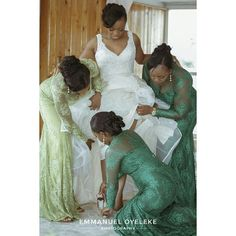 Green lace bridesmaids dresses