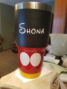 Mickey Mouse painted tumbler #yeti #ozarktrails ~BevAnn