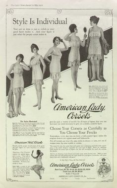 8c92f90a2 American Lady Girl Corsets 1919 Vintage Wormens Underwear Ad