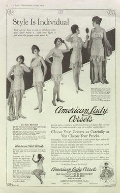 American Lady/Girl Corsets 1919 Vintage Wormens Underwear Ad