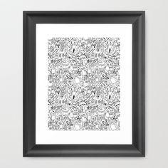 Infinity Robots Black & White Framed Art Print by Chris Piascik - $34.00
