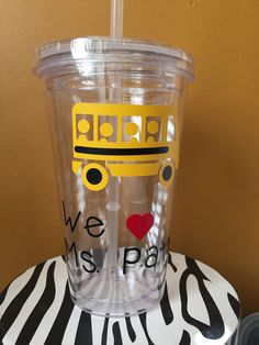 Bus driver gift straw tumbler glass  by ArtsyWallsAndMore on Etsy