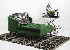 St. Bart's Chaise Lounge in Emerald Velvet