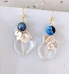 gold plated ear hook,blue agate, clear crystal , pearl piece dropped earring by BemineTreasures on Etsy earrings Etsy Earrings, Drop Earrings, Earrings Handmade, Wire Jewelry, Unique Jewelry, Clear Crystal, Agate, Quartz, Gemstones