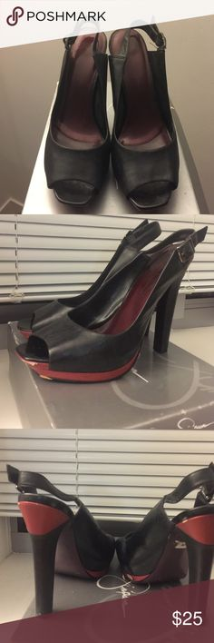 Jessica Simpson Heels Black Mestico Leather Peep Toe Sling Back and some Burgundy detail, 5 inch high heel w/ adjustable straps. Jessica Simpson Shoes Heels