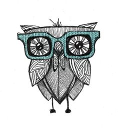 Owl with glasses illustration by Dimitra Karagianni Overlay Tumblr, Picasso, Nerd, Tatoo Art, Tattoo, Owl Always Love You, Owl Art, New Wall, Illustrations Posters