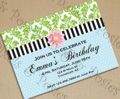 Custom Printable Party Invitation - Print Your Own Pink Green Blue Flower Polka Dot Invite Birthday Party