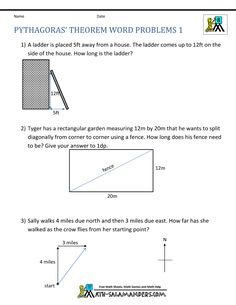 Pythagoras Theorem Questions Word Problems   Geometry